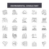 Środowiskowe konsultant linii ikony, znaki, wektoru set, kontur ilustracji pojęcie ilustracji