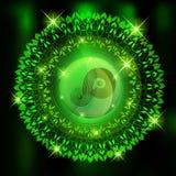 Środowiskowy tło - wianek tkane rośliny z symbolem ilustracja wektor