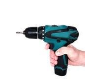 Śrubokręt w ręce odizolowywającej na białym tle Fotografia Stock