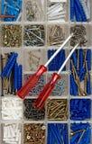 Śrubokręty, śruby i dowels, Zdjęcie Stock