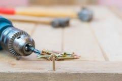 Śrubuje, młot i elektryczny świder na drewnie Zdjęcia Stock