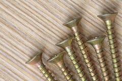 Śruby na drewnianym tła zakończeniu up Obrazy Stock
