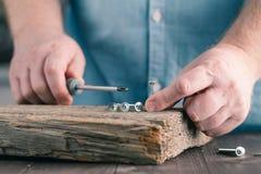 Śruby na drewnie w męskich rękach Obraz Royalty Free