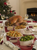 świąteczną kolację pieczeń indyk obrazy royalty free