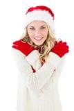 Świąteczna blondynka ono uśmiecha się przy kamerą Zdjęcia Royalty Free
