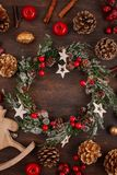 Świąteczna Bożenarodzeniowa rocznik dekoracja Szablon bożego narodzenia gree zdjęcia stock
