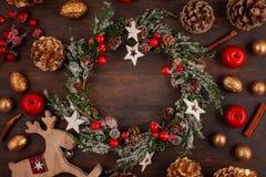 Świąteczna Bożenarodzeniowa rocznik dekoracja Szablon bożego narodzenia gree zdjęcie stock