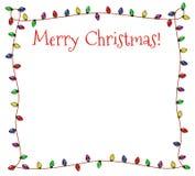 Świąteczna bożonarodzeniowe światła rama ilustracja wektor