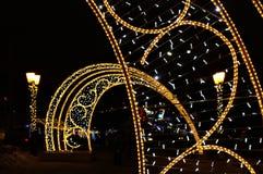 Świąteczna dekoracja miasto dla bożych narodzeń i nowego roku miejski krajobrazu Piękny tło obraz stock