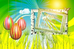 Świąteczna ilustracja - kolorowi Easter jajka na jaskrawym tle zdjęcia stock