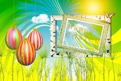 Świąteczna ilustracja - kolorowi Easter jajka na jaskrawym tle obraz royalty free