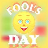 Świąteczna karta dla dnia dureń Twarz smiley ikona pokazuje jęzor Zdjęcie Stock