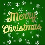 Świąteczna karta z błyskotania kaligraficznego literowania Wesoło bożymi narodzeniami na zielonym tle z choinką rozgałęzia się we ilustracja wektor