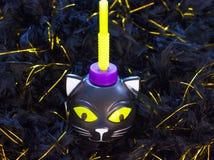 Świąteczna plastikowa filiżanka dla Halloween Dyniowy kościec i czarny kot fotografia royalty free