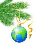 Świąteczna zabawkarska piłka jako planety ziemia Obrazy Royalty Free