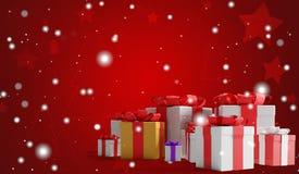 Świąteczne boże narodzenie teraźniejszość z płatek śniegu 3d-illustration jako bożego narodzenia tło royalty ilustracja