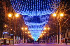 Świąteczne Bożenarodzeniowe nowy rok iluminacje w mieście Zdjęcie Royalty Free