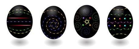 Świąteczni czarni Easter jajka, neonowi dekoracyjni wzory Obraz Royalty Free