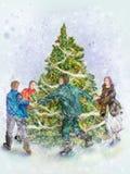 świąteczni jedlinowi ludzie jedlinowych dancings drzew Zdjęcia Royalty Free
