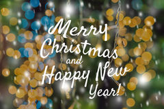 Świąteczni Karciani Wesoło boże narodzenia i Szczęśliwy nowy rok Zamazują żółtej zieleni Abstrakcjonistycznego tła punktów Lekkic Obrazy Royalty Free