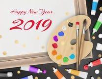 Świąteczni powitania Od artysty - Szczęśliwy nowy rok 2019 Zdjęcia Stock