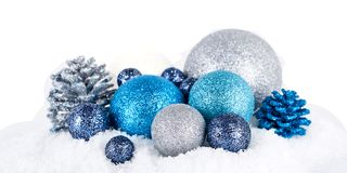 Świąteczny błyskotliwość bożych narodzeń dekoraci srebra błękit zdjęcia royalty free