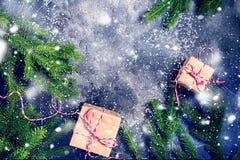 Świąteczny Beżowy rocznik Boksuje gałąź Iglaste Zdjęcia Royalty Free