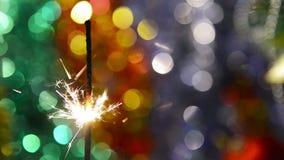 Świąteczny Bengalia ogień na jaskrawym tle zdjęcie wideo