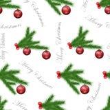 Świąteczny bezszwowy wzór z sosną rozgałęzia się, choinki piłki ornamenty i szary tekst na białym odosobnionym tle obrazy stock