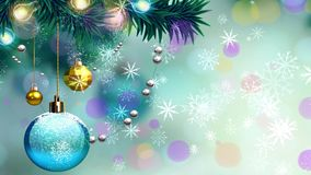 Świąteczny bożego narodzenia tło z piłkami i snowballs zbiory wideo