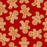 Świąteczny Bożenarodzeniowy bezszwowy wzór z piernikowymi mężczyznami ilustracja wektor