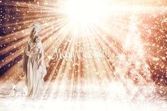 Świąteczny Bożenarodzeniowy tło z biblijnymi charakterami i Chrystus obrazy royalty free