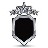 Świąteczny czarny wektorowy emblemat z konturem i pięć srebnymi gwiazdami Zdjęcie Stock