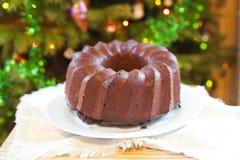 Świąteczny czekoladowy tort fotografia stock