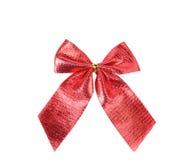 Świąteczny czerwony łęk robić faborek Obrazy Royalty Free