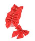 Świąteczny czerwony łęk robić faborek. Obraz Stock