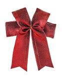 Świąteczny czerwony łęk robić faborek odizolowywający na bielu Zdjęcia Stock