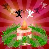 Świąteczny czerwony jaskrawy tło piękna świeczka gałęzie drzewa Przygotowywać dla bożych narodzeń ludzie zachodu na wieczór roman Obrazy Royalty Free