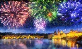 Świąteczny fajerwerk nad Charles mostem, Praga, republika czech fotografia stock