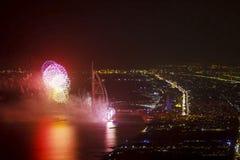 Świąteczny fajerwerk w Dubaj zdjęcie stock