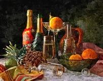 Świąteczny nowego roku stół święta bożego życie wciąż Malować mokrą akwarelę na papierze Naiwna sztuka sztuka abstrakcyjna Rysunk royalty ilustracja