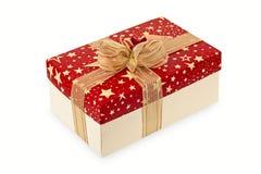 Świąteczny pudełko z złotym faborkiem Zdjęcie Stock