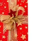 Świąteczny pudełko z złotym faborkiem Zdjęcia Royalty Free