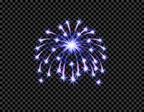 Świąteczny purpurowy fajerwerku salutu wybuch, błysk na przejrzystym w kratkę tle ilustracja Zdjęcia Stock