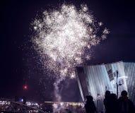 Świąteczny salut fajerwerki na nowy rok nocy Na Styczniu 1, Netherland, 2016 w Amsterdam - Zdjęcie Stock