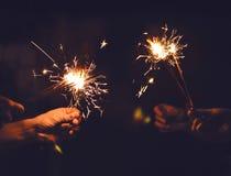 Świąteczny sparklers oparzenie Fotografia Stock