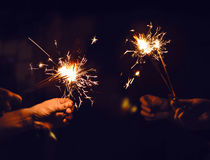 Świąteczny sparklers oparzenie Obrazy Stock
