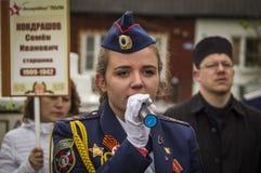 Świąteczny spotkanie może 9, 2017, w Kaluga regionie Rosja Obraz Stock