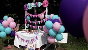 Świąteczny stół dla dziecka ` s urodziny zbiory wideo
