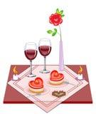 Świąteczny stół dla kochanków Walentynki s dzie? Wyśmienicie sercowaty tort, dwa szkła wino mrozowe świeczki daje romantycznemu ilustracja wektor